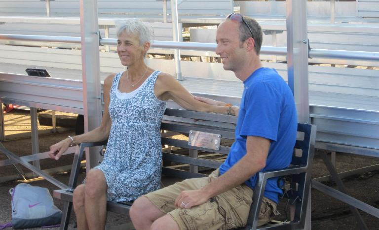 Jane and Chris M. on the bench.