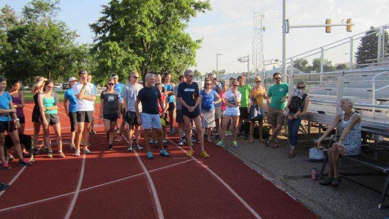 Great turnout by the Tuesday Night Track group for what would be Jane's last time at TNT.