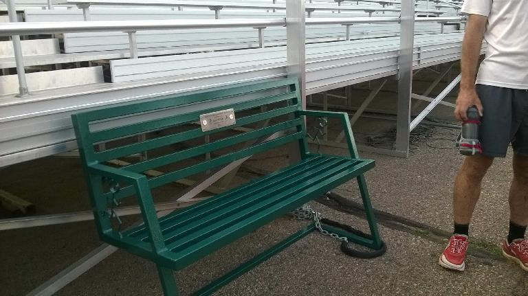 The Quada Quada bench in final form, painted in Jane's favorite color of green.