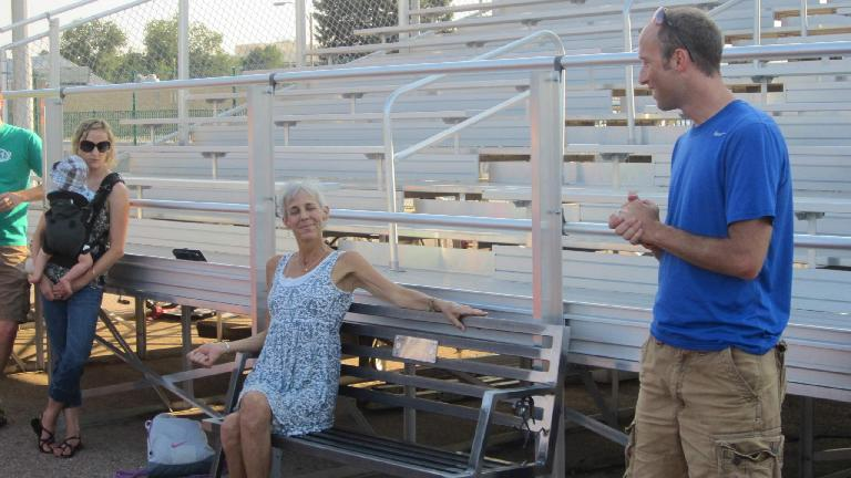 Jane on the bench the Tuesday Night Track group had commissioned in her honor.