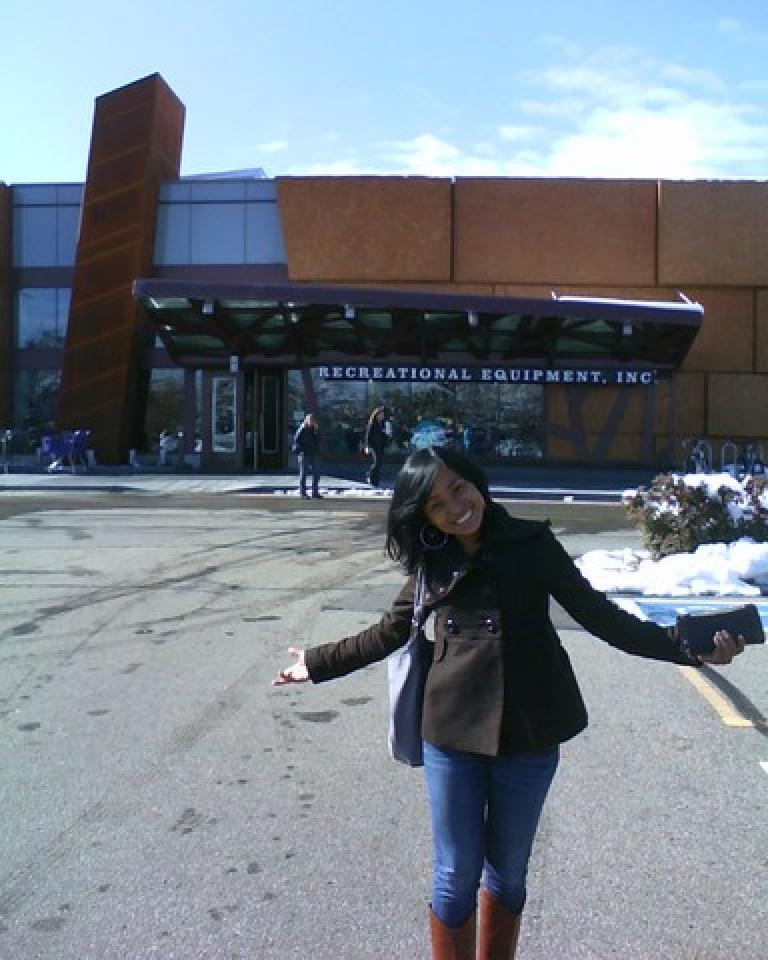 Janeth in front of the REI in Boulder.