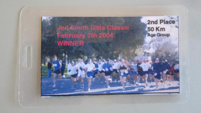 I finished second in the 20-29 age group at the 50-kilometer Jed Smith Ultra Classic. (February 7, 2004)