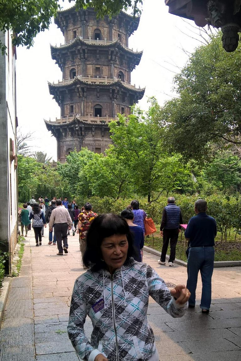 My mom in front of the Reshou Pagoda at the Kaiyuan Temple in Quanzhou, China.