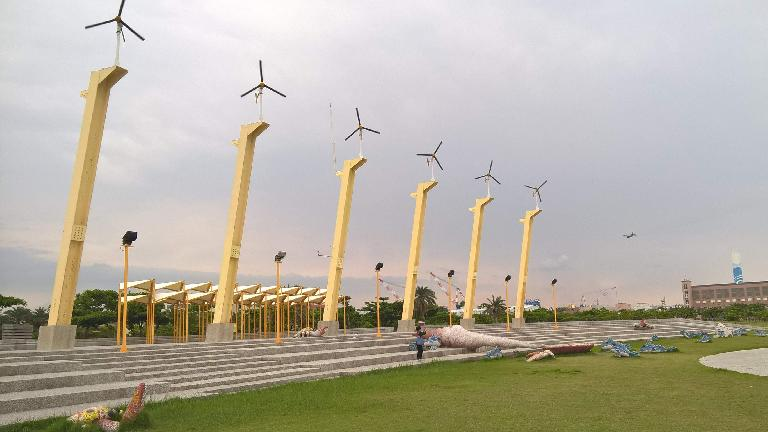 Windmills at Cijin Windmill Park in Kaohsiung City, Taiwan.