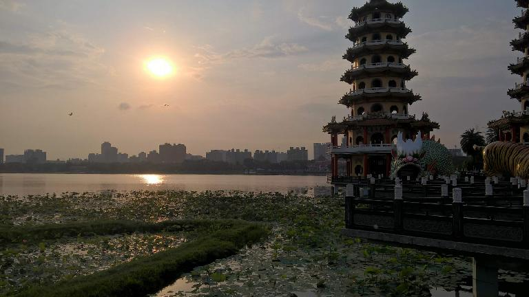 Pagodas at Lotus Pond, as seen during my morning run in Kaohsiung City, Taiwan.