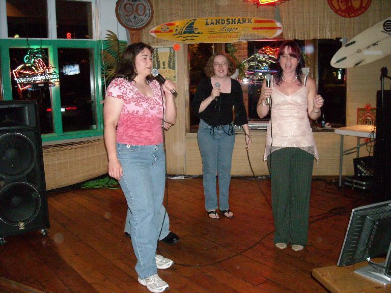 Christy, Renee (hidden), Bev and Tanya doing the Hokey Pokey.