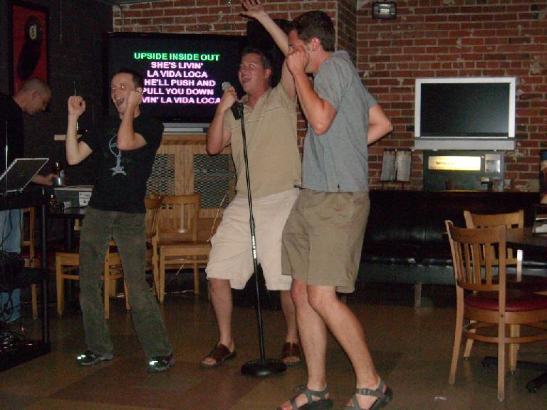 "Brad and Jon joining in on ""Livin' La Vida Loca."""