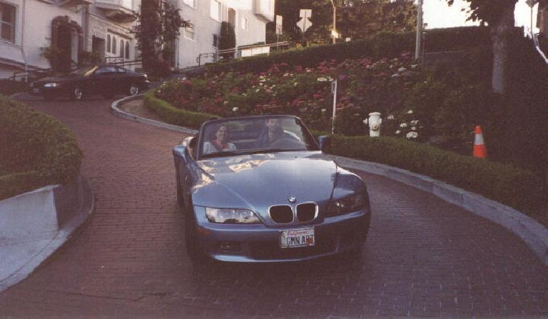 blue BMW Z3 with GMN ART license plates, Lombard Street