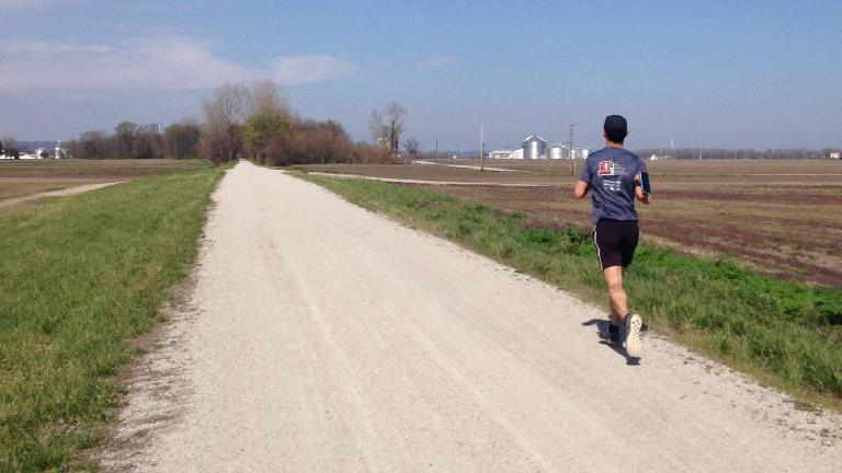 Felix Wong running northeast on the Katy Trail, a couple miles from St. Charles. (March 26, 2016)