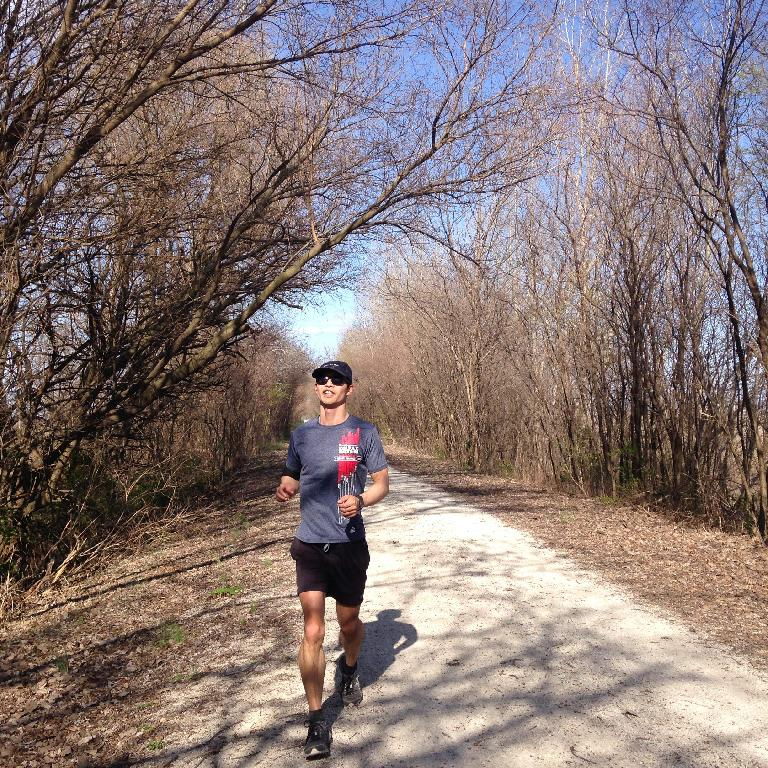 Felix Wong running on the Katy Trail northeast of St. Charles in late March 2016, before the trees had bloomed. (March 26, 2016)