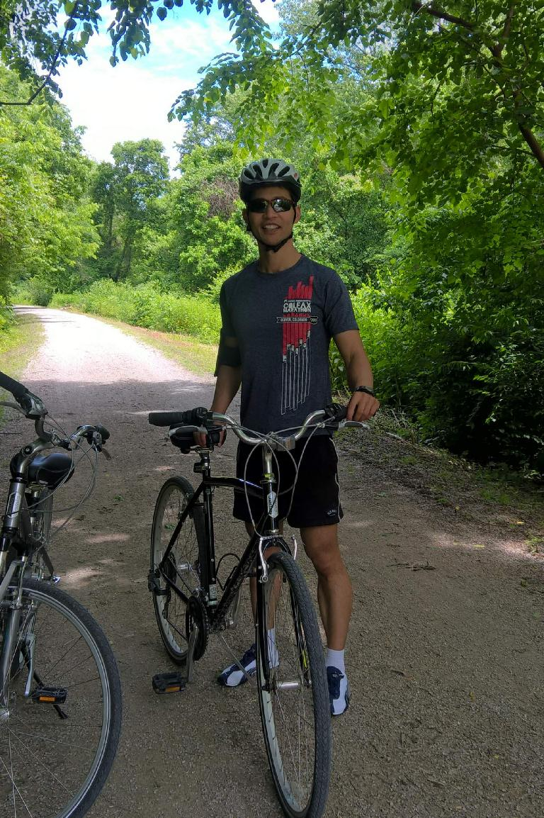 Felix Wong and the rental bikes on the Katy Trail.