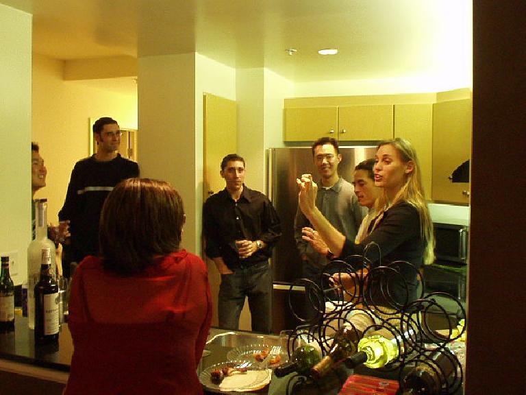 """This weekend Kelly, who I last saw at the Lincoln High School reunion, had a great housewarming party.  He's in the center flanked by his 6'10"""" bro Darin; friends Alan, Roland, and Tonya; and mom Colinda (in front)."""