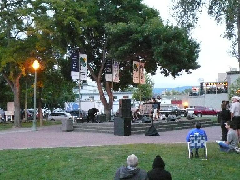 Live music was playing at the harbor by Okanagan Lake.