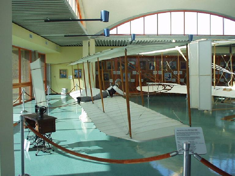 This is a replica of the one of the gliders the Wright brothers created years before creating their self-powered airplanes.  The gliders enabled them to master flight control.