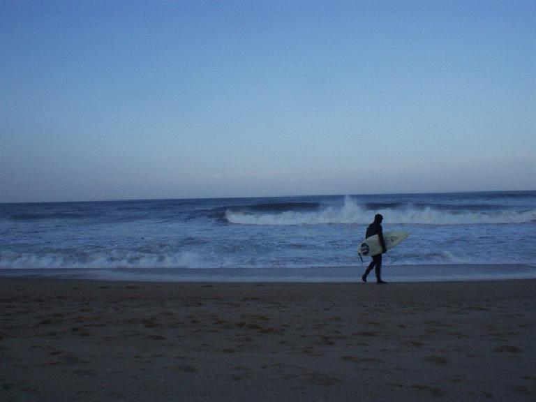 To the east were the crashing waves of the Atlantic Ocean and a surfer reader to go on in