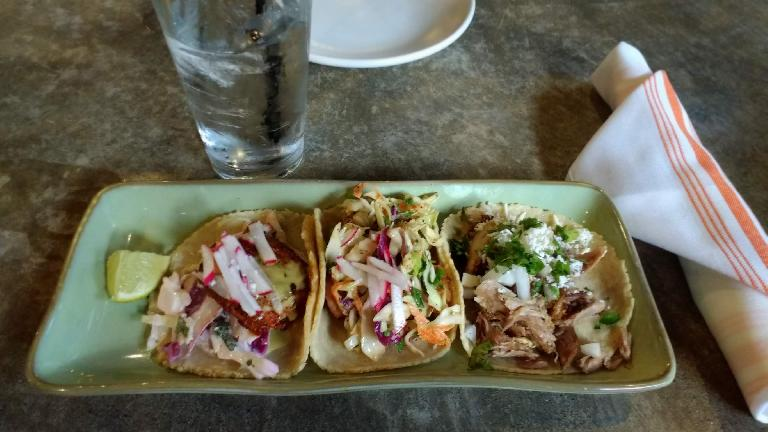 Tacos with redfish, camarones (shrimp), and pato (duck) at Babalu Tapas & Tacos in Knoxville, Tennessee.