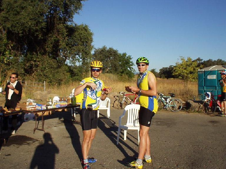 Mile 37, 8:12 a.m.: My friends Steve and Russ from the Tri-City Tri Club at Rest Stop #1.