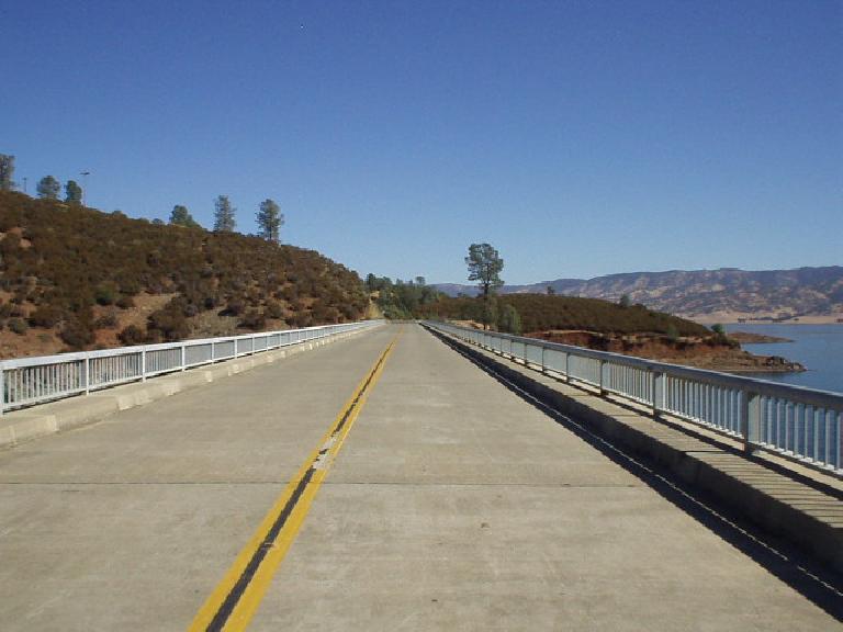 Mile 73, 10:37 a.m.: Crossing a bridge on a fast descent.