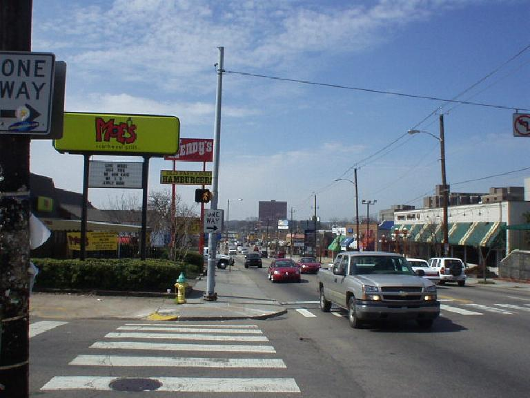 "After wandering around on foot within a 1-mile radius of the Convention Center and finding no restaurants or cafes, I hopped into my car and drove down Cumberland Ave. to ""The Strip"", which had plenty."