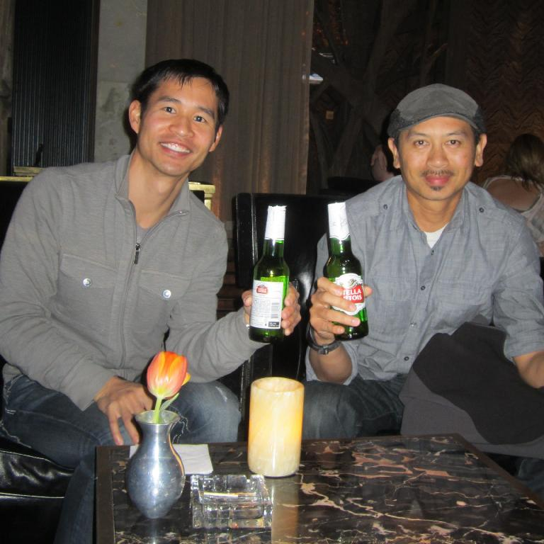 Felix Wong and Bandy enjoying a Stella beer at Deuce inside the Aria Hotel before Cirque du Soleil's Zarkana show. (November 18, 2013)