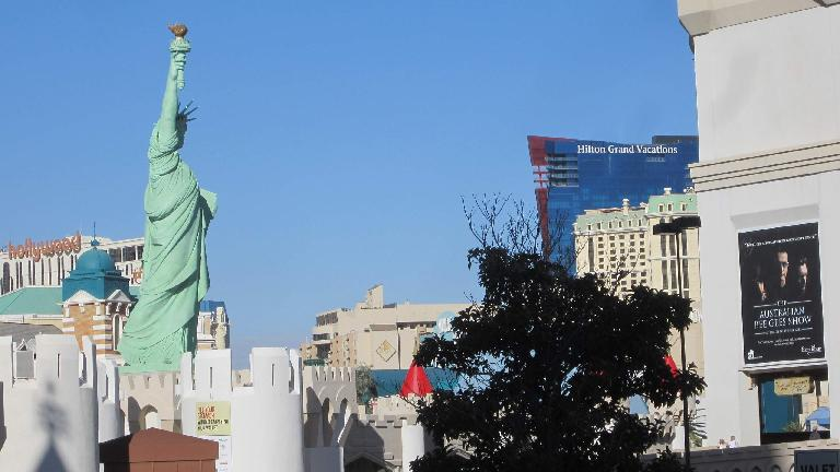 The faux Statue of Liberty overlooking the Strip.