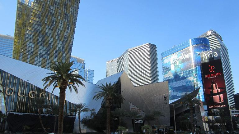Gucci, the Cosmopolitan, and Aria Hotel on the Strip.