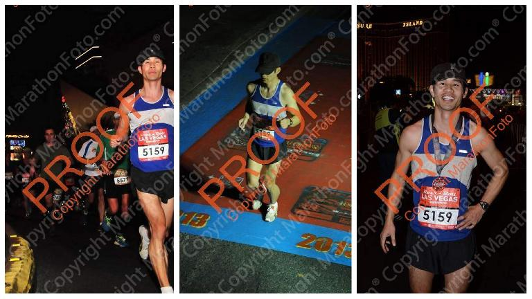 Felix Wong at the end of the Rock 'n' Roll Las Vegas Marathon. Photo: MarathonFoto.com.