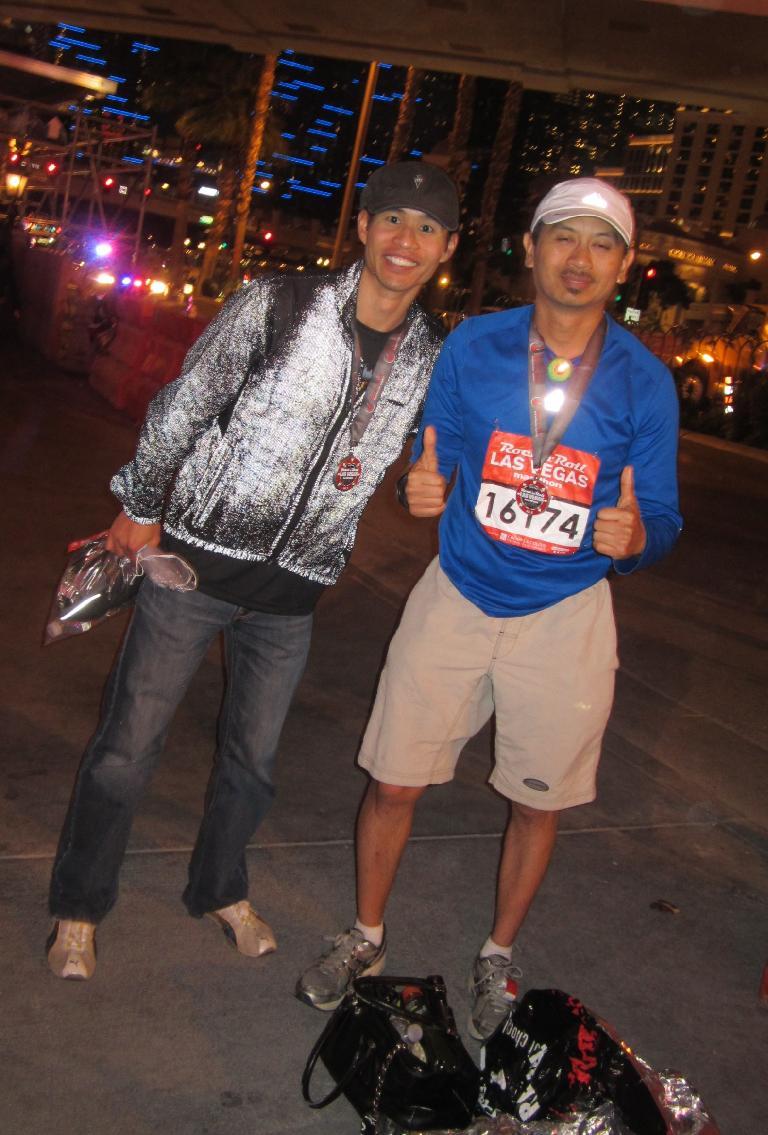 Felix Wong and Bandy after completing the Las Vegas Marathon. Photo: Sara Noy.