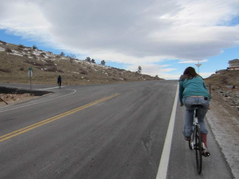 Despite riding in jeans and sneakers, Kelly was able to make it up Fort Collins steepest hill!
