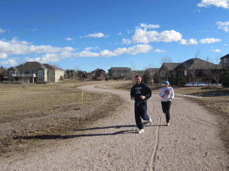 My bud/neighbor Tim and Kelly running on the Hearthfire recreation trail---our last run of 2011.