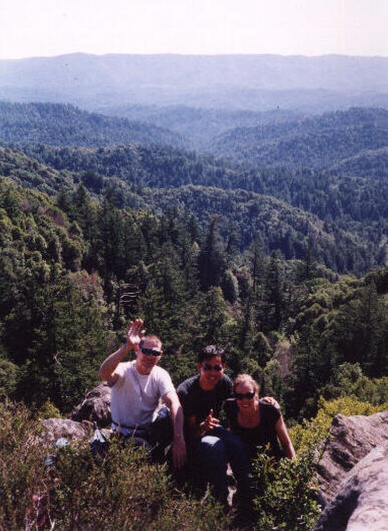 "Here's Bruce Morris (author of the ""Rock Climber's Guide to Skyline Blvd."") with Felix Wong and Christine."