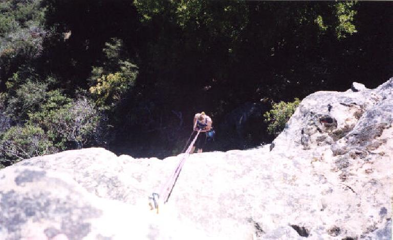Christine rapelling off Last Temptation Cliff!