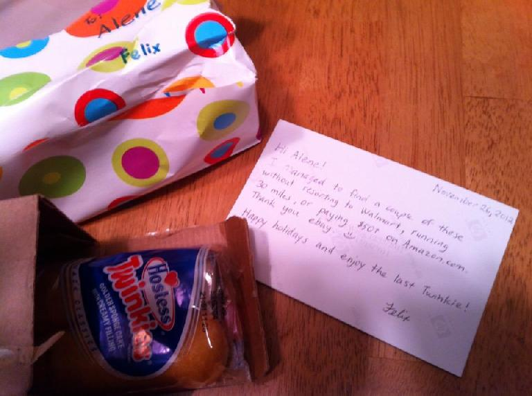 Alene got some Twinkies too! Photo: Alene NItzky. (November 26, 2012)