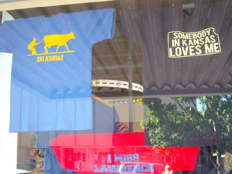 Various T-shirts seen in Lawrence, Kansas.
