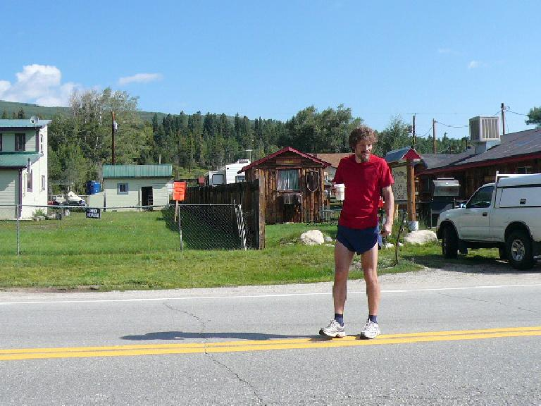 Nick after stopping at Mile 24... with a back injury! (August 18, 2007)