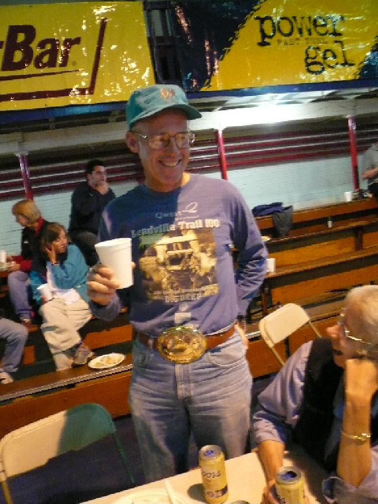 "Look at the size of Doug's ""under-25 hours"" buckle from a previous Leadville 100!"