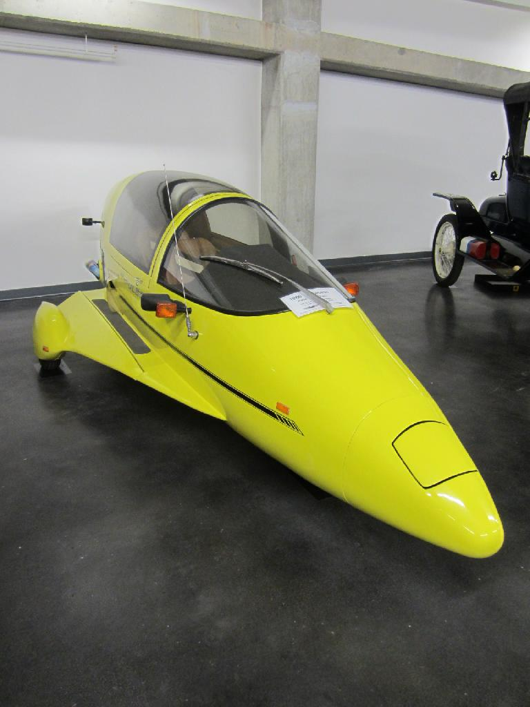 1986 Owosso Pulse 3-wheeler coupe.  Despite its looks it cannot fly.