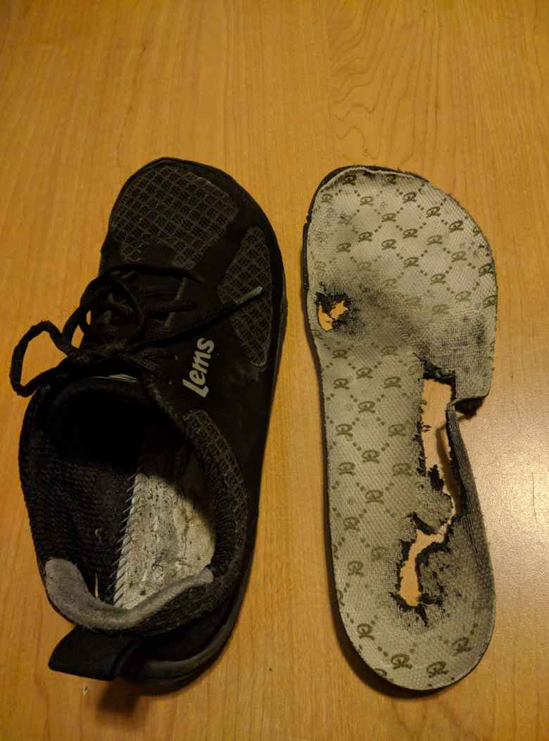 The insoles of the Lems Primal 2 shoes disintegrated much quicker than the rest of the shoe. This picture was taken with about 970 miles on the shoes.