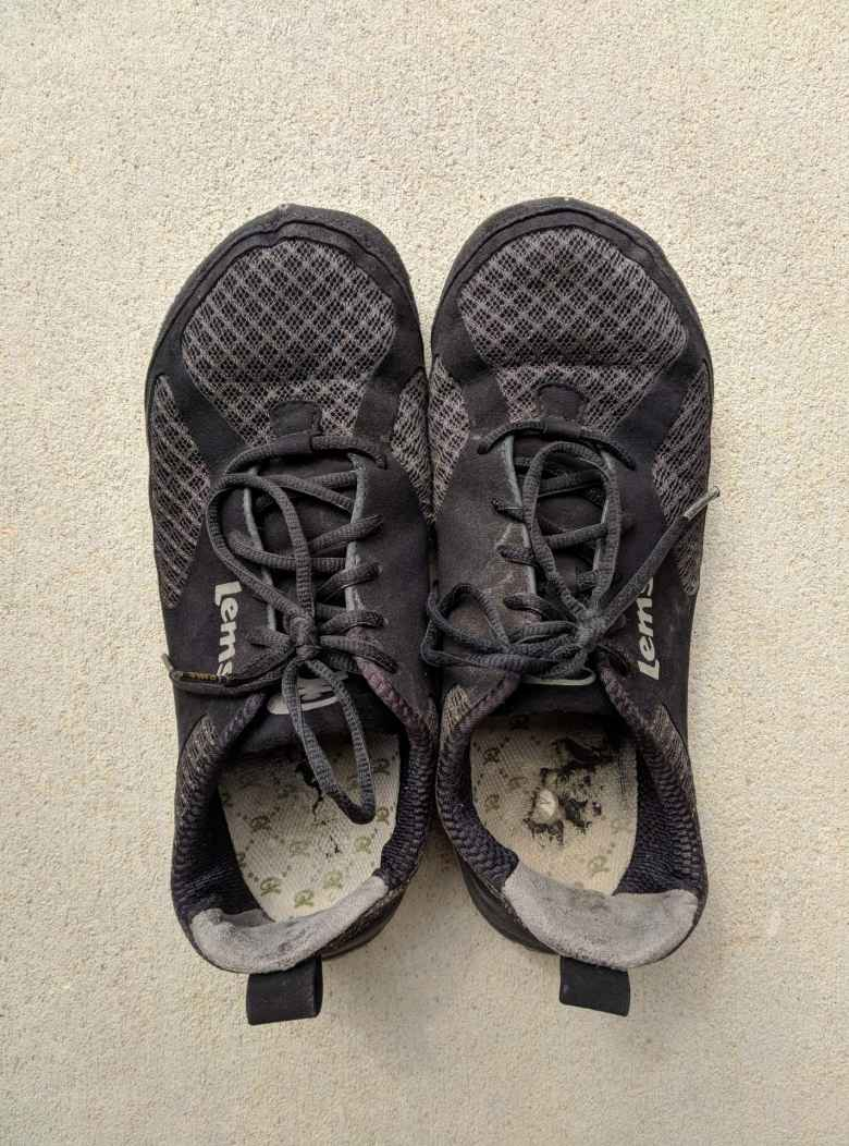 After 999 miles, the uppers of the Lems Primal 2 shoes still looked good.