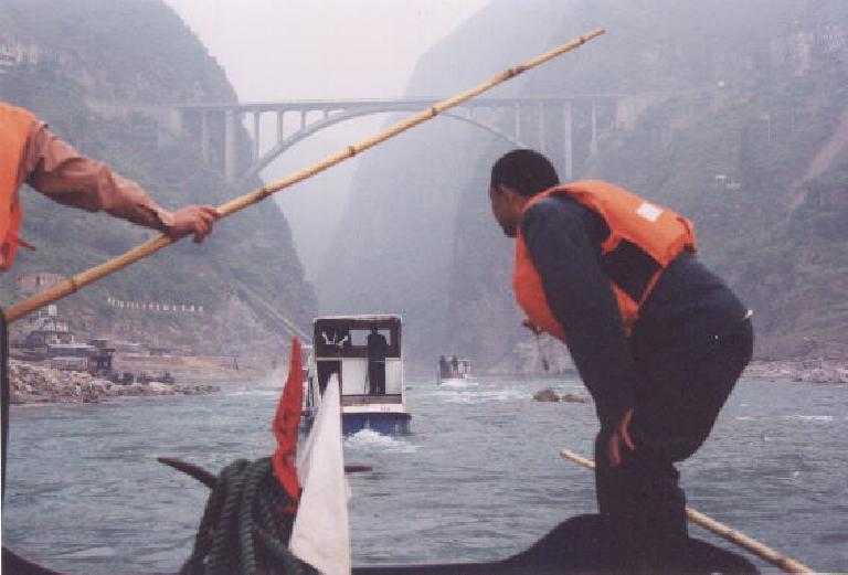 On board motorized sampans to sail up the Daning River through the Lesser Three Gorges.