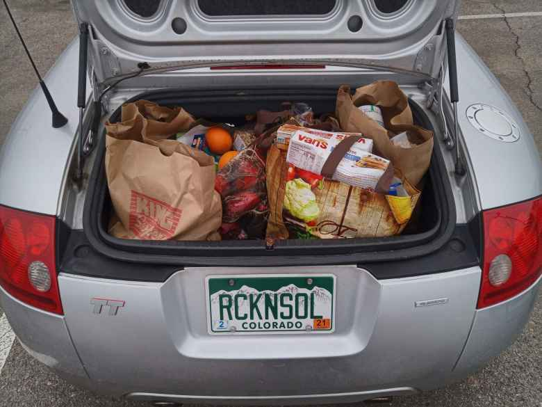 $200 worth of groceries in the trunk of my Audi TT Roadster Quattro.