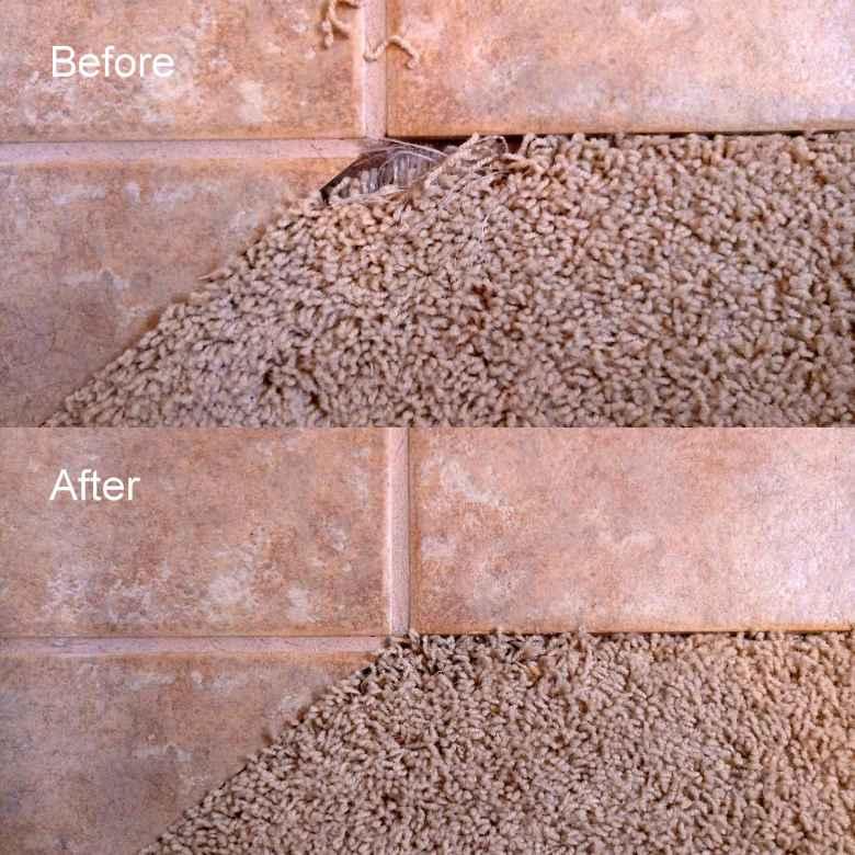 Repairing the carpet in a bathroom.