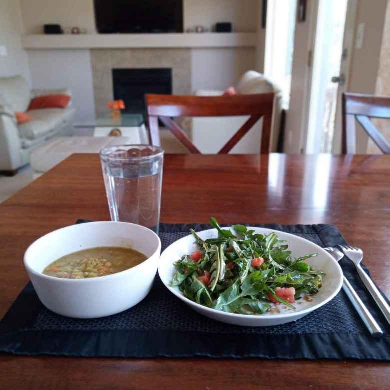 Lenil soup and dandelion salad.
