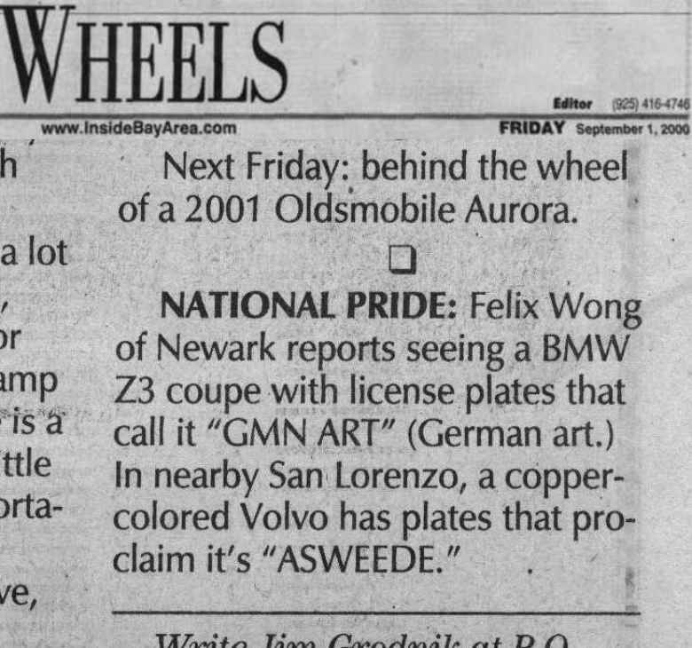 "Lina's ""GMN ART"" license plates got a mention in the Argus newspaper."