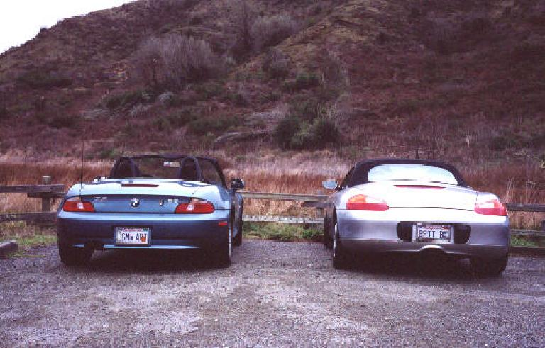 """[Point Reyes, Feb 2001 """"German Art"""" meets """"Brit Boxster"""" at the parking lot just south of the Coast Trail. (February 17, 2001)"""