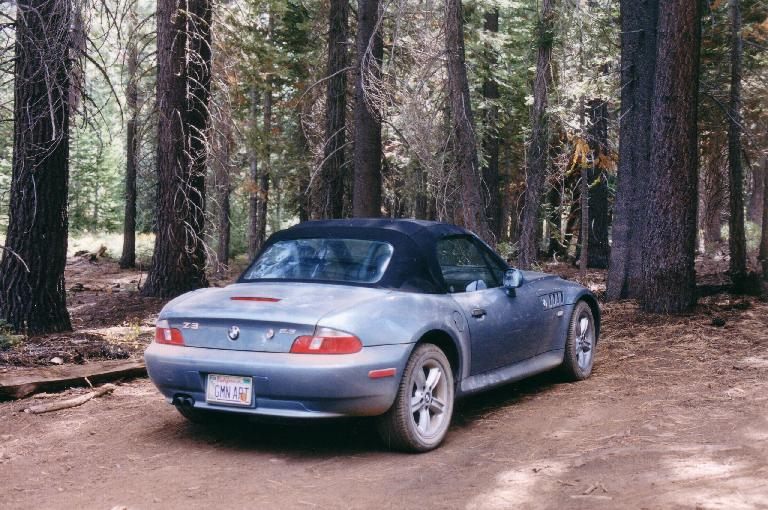[Sep  2001] Doing a little (well, >12 miles) of off-roading in Tahoe to get to a climb.  She was a tough little car! (September 16, 2001)