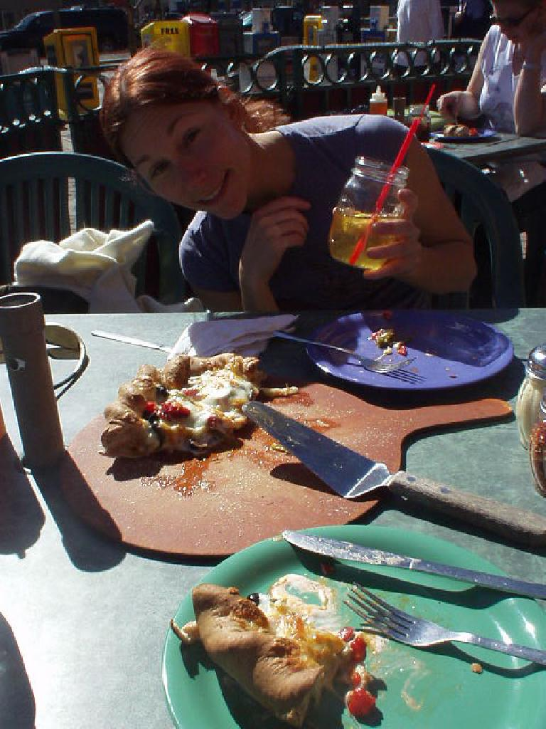 "On this 70-degree day, we had ""Colorado Style Thick Crust Firecracker Pizza"" outdoors. (February 27, 2006)"