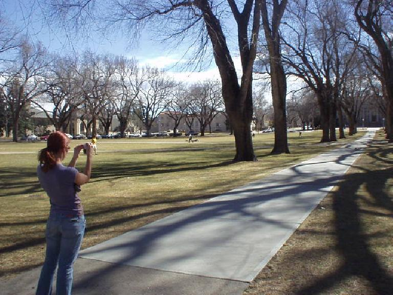It was clearly T-shirt weather on this warm day at the CSU campus. (February 27, 2006)