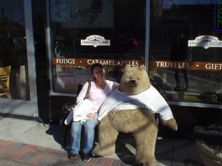 Ah, what a cute... bear (ok, the girl too).  This was in Old Town Fort Collins. (February 24, 2006)