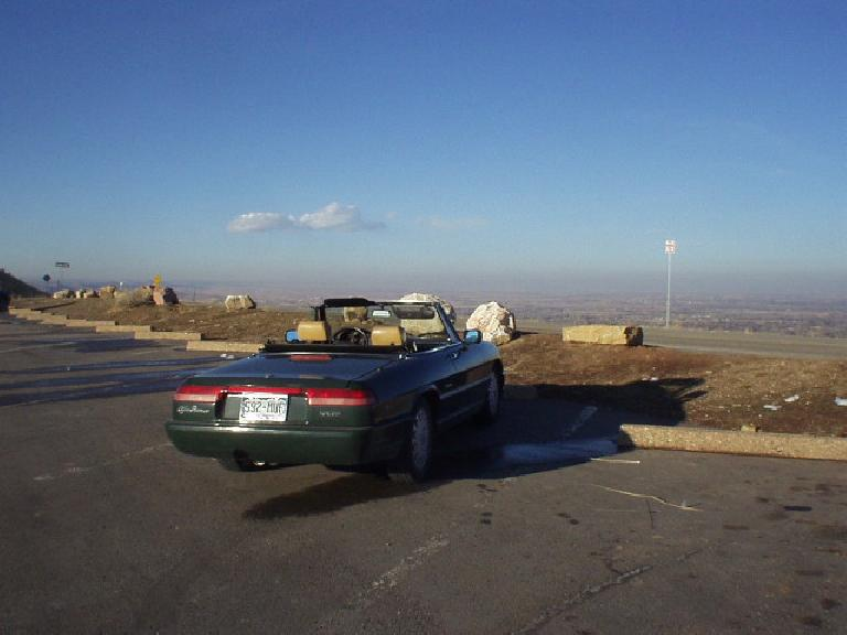 The Alfa overlooks Fort Collins after a spirited top-down drive through Rist Canyon. (February 25, 2006)